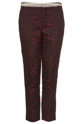 Tall Mix And Match Jacquard Trousers - waist: mid/regular rise; predominant colour: true red; secondary colour: black; occasions: casual, evening, creative work; length: ankle length; fibres: polyester/polyamide - mix; fit: slim leg; pattern type: fabric; pattern: patterned/print; texture group: woven light midweight; style: standard; season: a/w 2013; pattern size: big & busy (bottom)