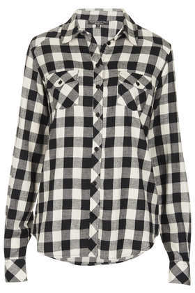 Tall Longsleeve Checked Shirt - neckline: shirt collar/peter pan/zip with opening; pattern: checked/gingham; style: shirt; secondary colour: white; predominant colour: black; occasions: casual, creative work; length: standard; fibres: cotton - 100%; fit: straight cut; sleeve length: long sleeve; sleeve style: standard; texture group: cotton feel fabrics; pattern type: fabric; pattern size: standard; season: a/w 2013; trends: monochrome