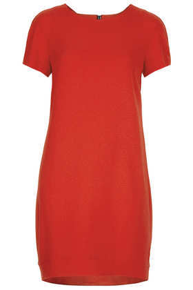 Tall Crepe Tee Shift Dress - style: shift; neckline: round neck; pattern: plain; predominant colour: true red; length: just above the knee; fit: straight cut; fibres: polyester/polyamide - stretch; sleeve length: short sleeve; sleeve style: standard; texture group: crepes; pattern type: fabric; occasions: creative work; season: a/w 2013