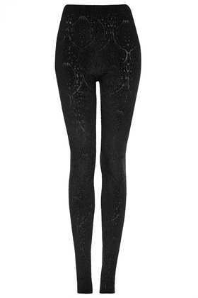 Tall Paisley Burnout Devore Leggings - length: standard; pattern: paisley; waist: mid/regular rise; predominant colour: black; occasions: casual, evening, creative work; fibres: polyester/polyamide - stretch; texture group: jersey - clingy; fit: skinny/tight leg; style: standard; trends: gothic romance; season: a/w 2013