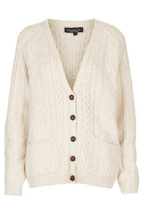 Tall Knitted Cable Cardi - neckline: low v-neck; hip detail: front pockets at hip; pattern: cable knit; predominant colour: ivory/cream; occasions: casual, creative work; length: standard; style: standard; fibres: acrylic - mix; fit: standard fit; sleeve length: long sleeve; sleeve style: standard; texture group: knits/crochet; pattern type: knitted - fine stitch; pattern size: light/subtle; trends: oversized structure; season: a/w 2013