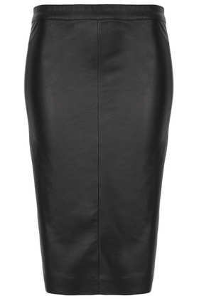 Tall Black Panel Pencil Skirt - pattern: plain; style: pencil; fit: tailored/fitted; waist: high rise; predominant colour: black; occasions: casual, evening, occasion, creative work; length: on the knee; texture group: leather; pattern type: fabric; trends: 1940's hitchcock heroines, gothic romance; fibres: pvc/polyurethene - 100%; season: a/w 2013