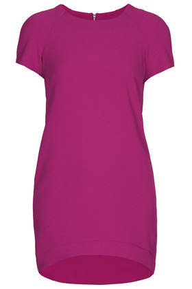 Petite Crepe Tee Shift Dress - style: shift; neckline: round neck; pattern: plain; predominant colour: hot pink; occasions: evening, creative work; length: just above the knee; fit: body skimming; fibres: polyester/polyamide - stretch; sleeve length: short sleeve; sleeve style: standard; texture group: crepes; pattern type: fabric; season: a/w 2013