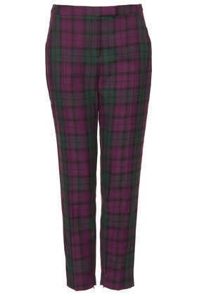 Petite Check Cigarette Trousers - length: standard; pattern: checked/gingham; pocket detail: small back pockets, pockets at the sides; waist: mid/regular rise; predominant colour: aubergine; secondary colour: dark green; occasions: casual, creative work; fibres: polyester/polyamide - mix; fit: tapered; texture group: woven light midweight; style: standard; season: a/w 2013