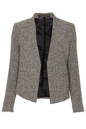 Petite Neppie Cropped Blazer - pattern: plain; style: single breasted blazer; collar: round collar/collarless; secondary colour: white; predominant colour: black; occasions: casual, evening, work, creative work; length: standard; fit: tailored/fitted; fibres: cotton - mix; sleeve length: long sleeve; sleeve style: standard; collar break: low/open; pattern type: fabric; texture group: woven light midweight; trends: masculine feminine, monochrome; season: a/w 2013