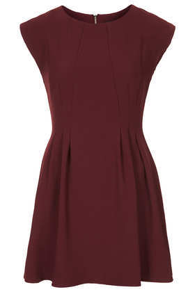 Petite Crepe Seam Flippy Dress - length: mini; sleeve style: capped; pattern: plain; predominant colour: burgundy; occasions: casual, evening, occasion, holiday, creative work; fit: fitted at waist & bust; style: fit & flare; fibres: polyester/polyamide - stretch; neckline: crew; sleeve length: sleeveless; texture group: crepes; pattern type: fabric; season: a/w 2013