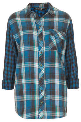 Petite Oversized Check Shirt - neckline: shirt collar/peter pan/zip with opening; pattern: checked/gingham; length: below the bottom; style: shirt; occasions: casual, creative work; fibres: cotton - 100%; fit: loose; predominant colour: multicoloured; sleeve length: long sleeve; sleeve style: standard; texture group: cotton feel fabrics; pattern type: fabric; pattern size: standard; trends: masculine feminine; season: a/w 2013; multicoloured: multicoloured