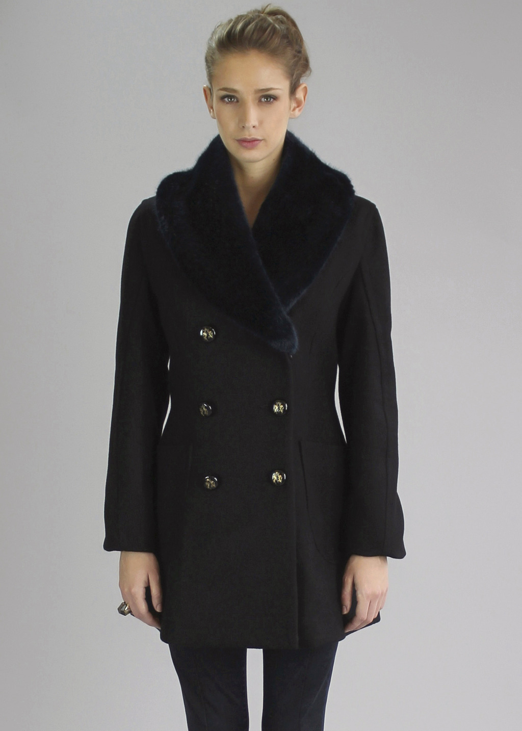 Black Soma Pea Coat - pattern: plain; style: double breasted; length: mid thigh; predominant colour: black; occasions: casual, evening, occasion, creative work; fit: tailored/fitted; fibres: wool - mix; sleeve length: long sleeve; sleeve style: standard; collar: fur; collar break: high; pattern type: fabric; texture group: woven bulky/heavy; season: a/w 2013; hip detail: front pockets at hip