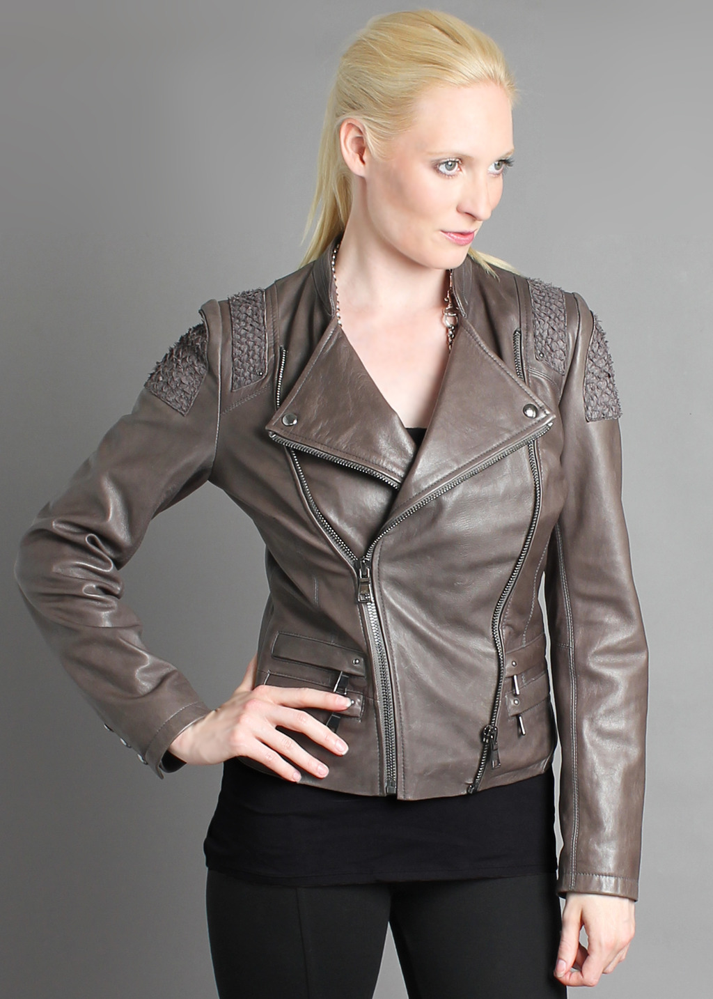 Portobello Biker Jacket - pattern: plain; style: biker; collar: asymmetric biker; shoulder detail: contrast pattern/fabric at shoulder; predominant colour: taupe; occasions: casual; length: standard; fit: tailored/fitted; fibres: leather - 100%; sleeve length: long sleeve; sleeve style: standard; texture group: leather; collar break: high/illusion of break when open; pattern type: fabric; season: a/w 2013