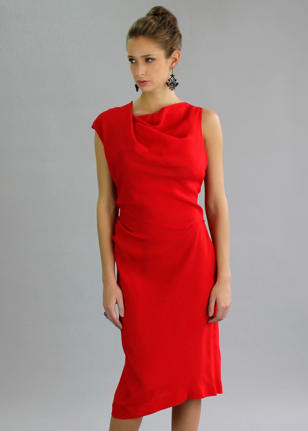 Alto Dress In Pomegranate - style: shift; length: below the knee; neckline: cowl/draped neck; pattern: plain; sleeve style: sleeveless; bust detail: subtle bust detail; predominant colour: true red; occasions: evening, occasion; fit: body skimming; fibres: viscose/rayon - 100%; sleeve length: sleeveless; texture group: silky - light; pattern type: fabric; season: a/w 2013