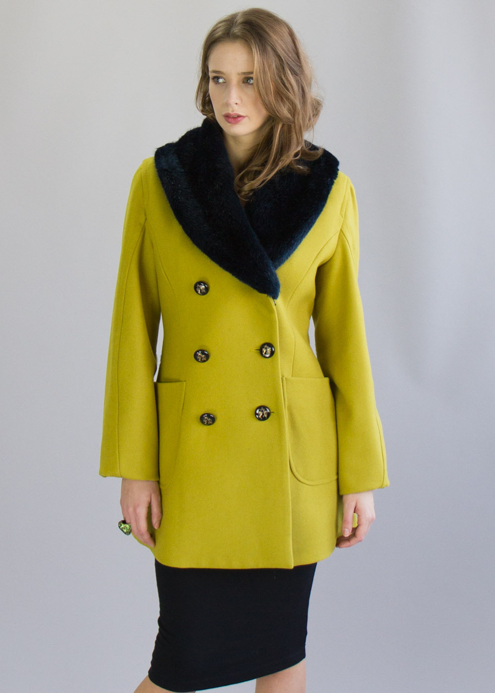 Mustard Soma Pea Coat - pattern: plain; style: double breasted; length: mid thigh; predominant colour: yellow; occasions: casual, creative work; fit: tailored/fitted; fibres: wool - mix; sleeve length: long sleeve; sleeve style: standard; collar: fur; collar break: high; pattern type: fabric; texture group: woven bulky/heavy; trends: 1940's hitchcock heroines; season: a/w 2013; hip detail: front pockets at hip