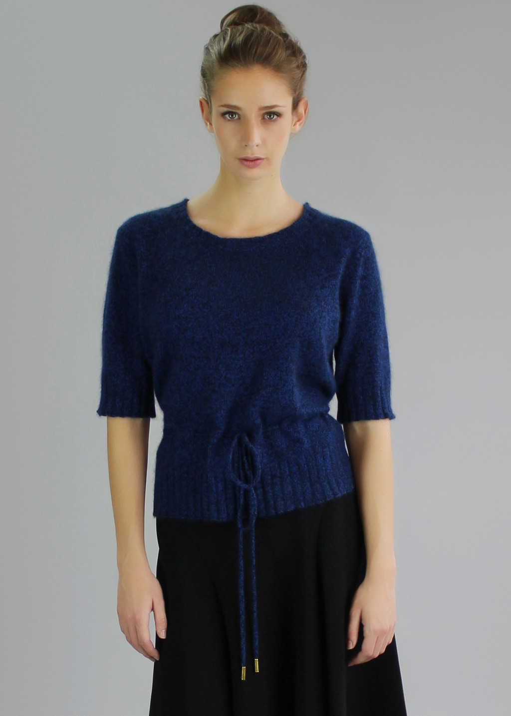 Blue Jayne Top - neckline: round neck; pattern: plain; waist detail: belted waist/tie at waist/drawstring; predominant colour: royal blue; occasions: casual, creative work; length: standard; style: top; fibres: silk - mix; fit: body skimming; sleeve length: half sleeve; sleeve style: standard; texture group: knits/crochet; pattern type: knitted - other; season: a/w 2013; wardrobe: highlight