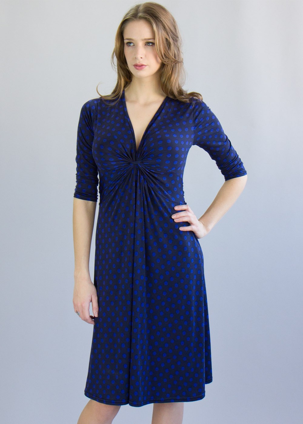 Belleville Dress - style: empire line; length: below the knee; neckline: low v-neck; fit: loose; pattern: polka dot; bust detail: knot twist front detail at bust; secondary colour: diva blue; predominant colour: navy; occasions: casual; fibres: polyester/polyamide - stretch; sleeve length: 3/4 length; sleeve style: standard; pattern type: fabric; pattern size: standard; texture group: jersey - stretchy/drapey; season: a/w 2013