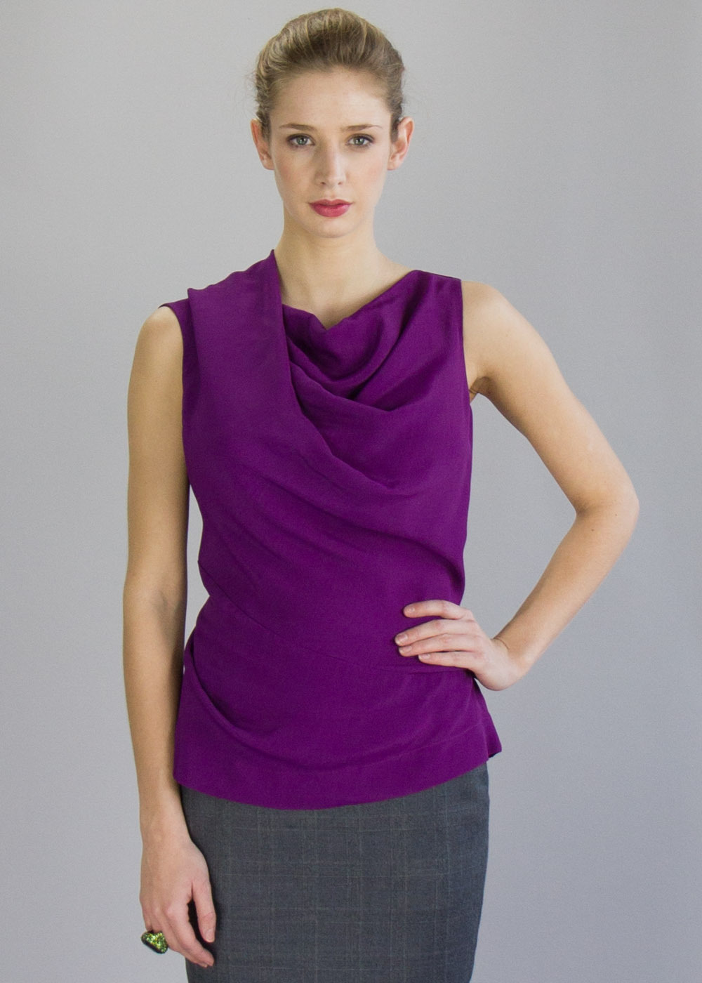 Purple Alto Top - neckline: cowl/draped neck; pattern: plain; sleeve style: sleeveless; bust detail: subtle bust detail; predominant colour: magenta; occasions: evening; length: standard; style: top; fibres: viscose/rayon - 100%; fit: body skimming; sleeve length: sleeveless; texture group: silky - light; pattern type: fabric; season: a/w 2013; wardrobe: event