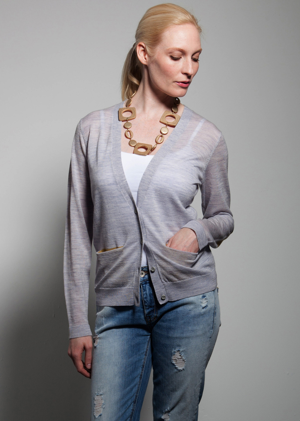 Chelsea Cardigan - neckline: low v-neck; pattern: plain; hip detail: front pockets at hip; predominant colour: light grey; occasions: casual; length: standard; style: standard; fibres: wool - 100%; fit: standard fit; sleeve length: long sleeve; sleeve style: standard; texture group: knits/crochet; pattern type: knitted - fine stitch; season: a/w 2013