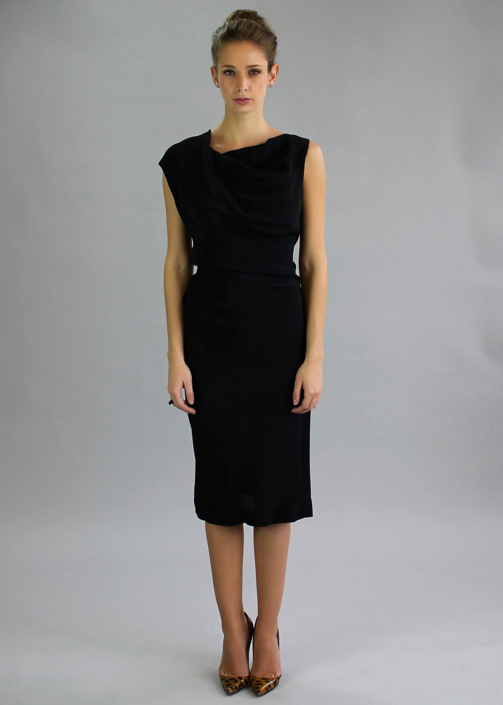Black Alto Dress - style: shift; length: below the knee; pattern: plain; sleeve style: sleeveless; neckline: asymmetric; predominant colour: black; occasions: evening, occasion; fit: body skimming; fibres: viscose/rayon - 100%; sleeve length: sleeveless; texture group: silky - light; pattern type: fabric; season: a/w 2013