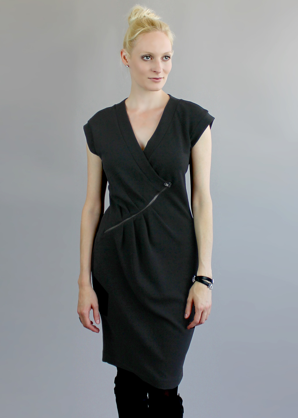 Black Finsbury Dress - style: faux wrap/wrap; neckline: low v-neck; sleeve style: capped; pattern: plain; predominant colour: black; occasions: casual, creative work; length: on the knee; fit: body skimming; fibres: polyester/polyamide - mix; sleeve length: short sleeve; texture group: crepes; pattern type: fabric; season: a/w 2013