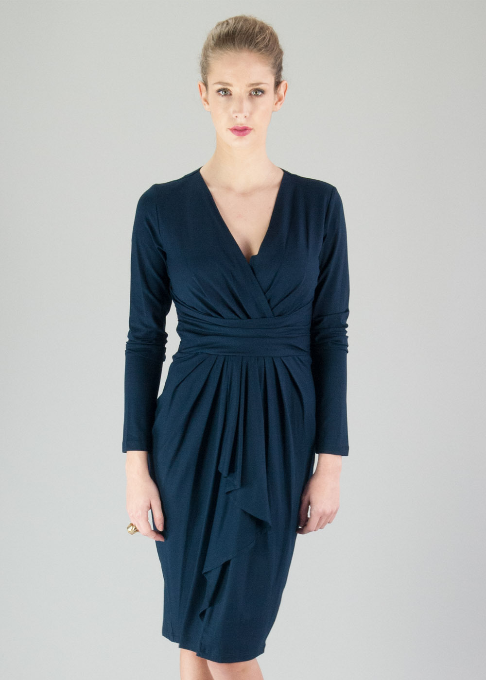 Navy Uptown Dress - style: faux wrap/wrap; length: below the knee; neckline: low v-neck; pattern: plain; waist detail: wide waistband/cummerbund; predominant colour: navy; occasions: evening, occasion; fit: body skimming; fibres: viscose/rayon - stretch; hip detail: subtle/flattering hip detail; sleeve length: long sleeve; sleeve style: standard; pattern type: fabric; texture group: jersey - stretchy/drapey; trends: broody brights; season: a/w 2013