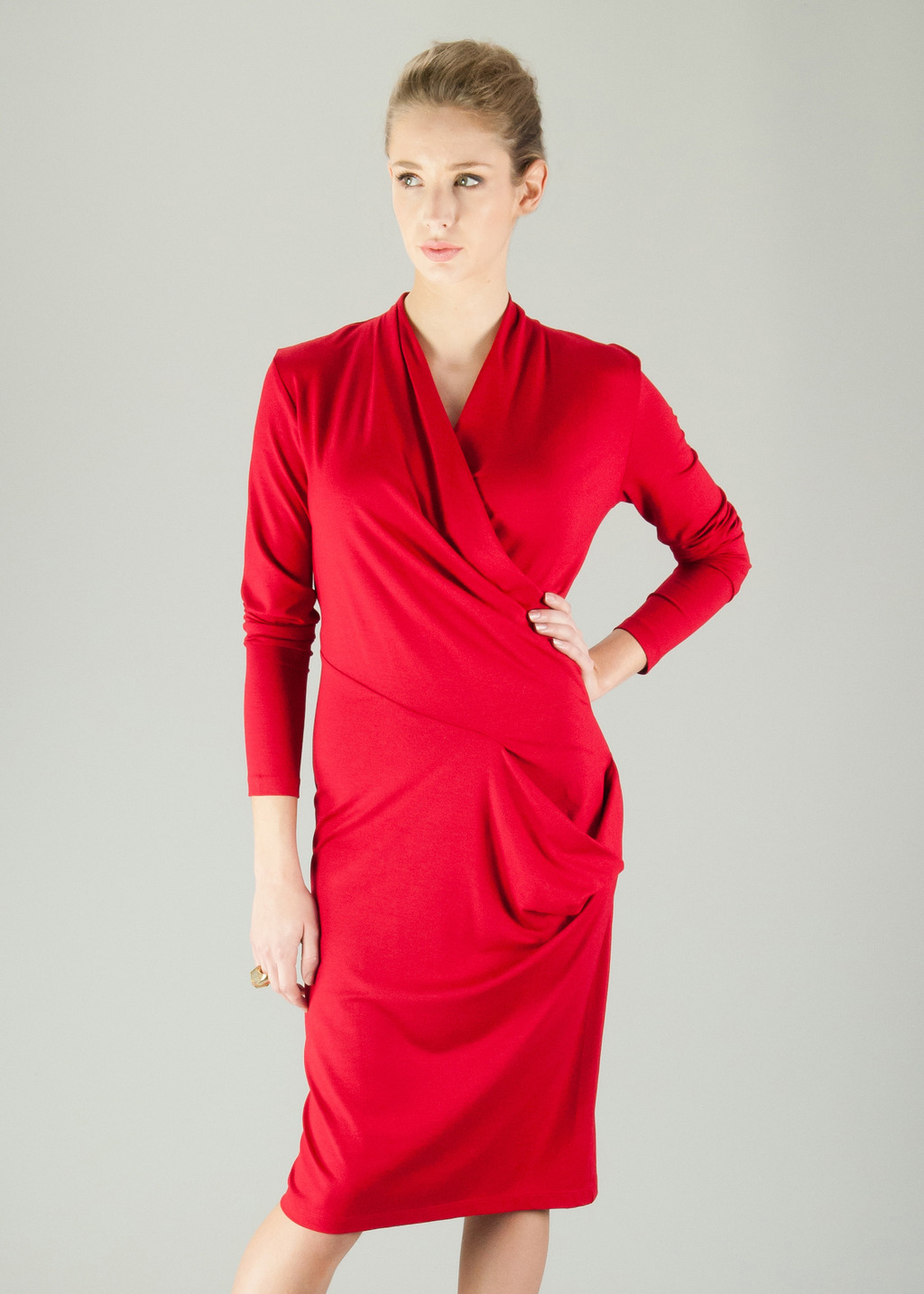 Chelsea Dress - style: faux wrap/wrap; length: below the knee; neckline: v-neck; pattern: plain; predominant colour: true red; occasions: evening, occasion; fit: body skimming; fibres: viscose/rayon - stretch; hip detail: subtle/flattering hip detail; sleeve length: long sleeve; sleeve style: standard; pattern type: fabric; texture group: jersey - stretchy/drapey; season: a/w 2013