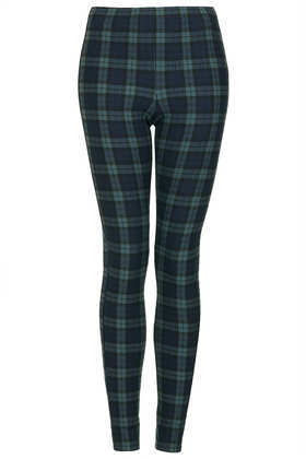 Blackwatch Check Leggings - length: standard; pattern: checked/gingham; style: leggings; waist detail: elasticated waist; waist: mid/regular rise; predominant colour: dark green; secondary colour: black; occasions: casual, evening, creative work; fibres: polyester/polyamide - stretch; texture group: jersey - clingy; fit: skinny/tight leg; trends: gorgeous grunge; season: a/w 2013