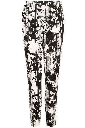 Pleat Flower Cigarette Trousers - length: standard; pocket detail: pockets at the sides; waist: mid/regular rise; secondary colour: white; predominant colour: black; occasions: casual, evening, holiday, creative work; fibres: cotton - stretch; waist detail: feature waist detail; texture group: cotton feel fabrics; fit: tapered; pattern type: fabric; pattern: patterned/print; style: standard; season: a/w 2013
