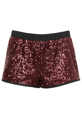 Oxblood Sequin Runner Shorts - pattern: plain; waist detail: elasticated waist; waist: mid/regular rise; predominant colour: burgundy; occasions: casual, evening, holiday, creative work; fibres: viscose/rayon - 100%; pattern type: fabric; texture group: other - light to midweight; embellishment: sequins; season: a/w 2013; style: hot pants; length: short shorts; fit: slim leg; wardrobe: highlight; embellishment location: all over
