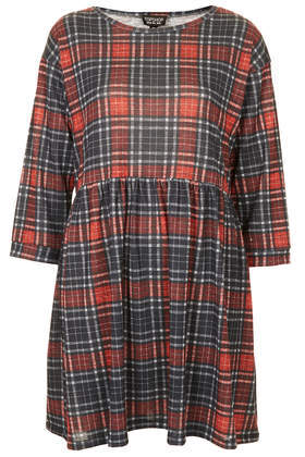 Red Check Smock Dress - style: smock; length: mid thigh; neckline: round neck; fit: loose; pattern: checked/gingham; secondary colour: bright orange; predominant colour: charcoal; occasions: casual, creative work; fibres: cotton - 100%; hip detail: soft pleats at hip/draping at hip/flared at hip; sleeve length: 3/4 length; sleeve style: standard; texture group: cotton feel fabrics; pattern type: fabric; pattern size: standard; trends: gorgeous grunge; season: a/w 2013