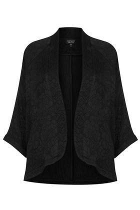 Jacquard Kimono Jacket - sleeve style: dolman/batwing; pattern: plain; collar: round collar/collarless; fit: loose; predominant colour: black; occasions: casual, evening, creative work; length: standard; fibres: cotton - 100%; sleeve length: 3/4 length; collar break: low/open; pattern type: fabric; texture group: brocade/jacquard; style: fluid/kimono; season: a/w 2013
