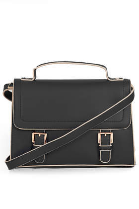 Double Buckle Satchel - predominant colour: black; occasions: casual, work, creative work; style: satchel; length: across body/long; size: standard; material: faux leather; pattern: plain; finish: plain; embellishment: buckles; trends: 1940's hitchcock heroines; season: a/w 2013