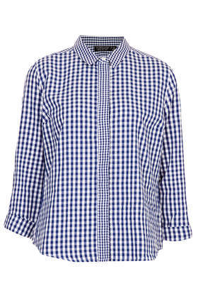 Mix Gingham Shirt - neckline: shirt collar/peter pan/zip with opening; pattern: checked/gingham; style: shirt; secondary colour: white; predominant colour: royal blue; occasions: casual, work, creative work; length: standard; fibres: cotton - 100%; fit: straight cut; sleeve length: long sleeve; sleeve style: standard; pattern type: fabric; pattern size: standard; texture group: jersey - stretchy/drapey; season: a/w 2013