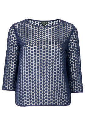 Daisy Embroidered Mesh Tee - neckline: round neck; predominant colour: navy; occasions: casual, evening, creative work; length: standard; style: top; fibres: polyester/polyamide - 100%; fit: body skimming; sleeve length: 3/4 length; sleeve style: standard; pattern type: fabric; pattern: patterned/print; texture group: other - light to midweight; embellishment: embroidered; trends: broody brights; season: a/w 2013