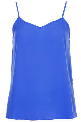 Strappy V Neck Cami - neckline: low v-neck; sleeve style: spaghetti straps; pattern: plain; style: camisole; predominant colour: royal blue; occasions: casual, evening, holiday, creative work; length: standard; fibres: polyester/polyamide - 100%; fit: loose; sleeve length: sleeveless; texture group: sheer fabrics/chiffon/organza etc.; pattern type: fabric; season: a/w 2013