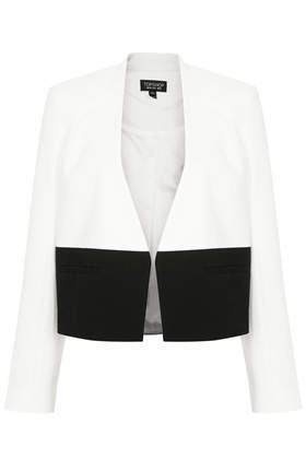 Colourblock Tailored Jacket - style: bolero/shrug; collar: round collar/collarless; predominant colour: white; secondary colour: black; occasions: casual, evening, work, creative work; fit: tailored/fitted; fibres: polyester/polyamide - 100%; sleeve length: long sleeve; sleeve style: standard; collar break: low/open; pattern type: fabric; pattern size: standard; pattern: colourblock; texture group: woven light midweight; season: a/w 2013; trends: monochrome; length: cropped