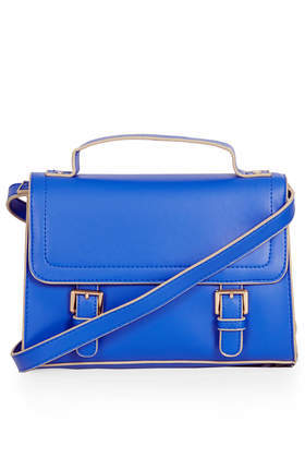 Double Buckle Satchel - predominant colour: diva blue; occasions: casual, work, creative work; style: satchel; length: across body/long; size: standard; material: faux leather; pattern: plain; finish: plain; embellishment: buckles; trends: 1940's hitchcock heroines; season: a/w 2013