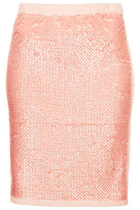 Knitted Sequin Front Skirt - pattern: plain; style: pencil; fit: tight; waist: high rise; predominant colour: blush; occasions: evening, creative work; length: just above the knee; fibres: acrylic - mix; pattern type: fabric; texture group: woven light midweight; embellishment: sequins; season: a/w 2013; wardrobe: highlight; embellishment location: all over