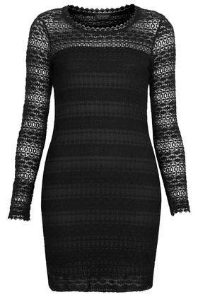 Bobble Lace Tunic - length: mid thigh; neckline: round neck; fit: tight; style: bodycon; predominant colour: black; occasions: casual, evening, occasion, creative work; fibres: viscose/rayon - stretch; sleeve length: long sleeve; sleeve style: standard; texture group: lace; pattern type: fabric; pattern: patterned/print; trends: gothic romance; season: a/w 2013