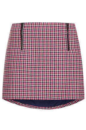 Pink Check Zip Pelmet Skirt - length: mini; pattern: checked/gingham; fit: tailored/fitted; waist: high rise; occasions: casual, evening, creative work; style: mini skirt; fibres: cotton - 100%; predominant colour: multicoloured; pattern type: fabric; texture group: woven light midweight; trends: gorgeous grunge; season: a/w 2013; pattern size: standard (bottom); multicoloured: multicoloured