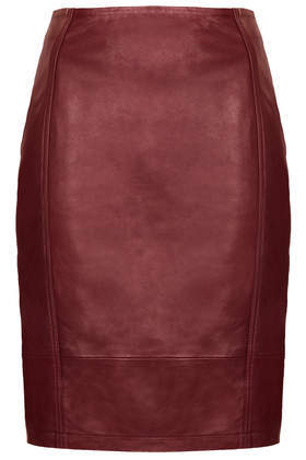 Leather Panel Pencil Skirt - pattern: plain; style: pencil; fit: tailored/fitted; waist: high rise; predominant colour: burgundy; occasions: casual, evening, creative work; length: just above the knee; fibres: leather - 100%; texture group: leather; pattern type: fabric; trends: broody brights; season: a/w 2013