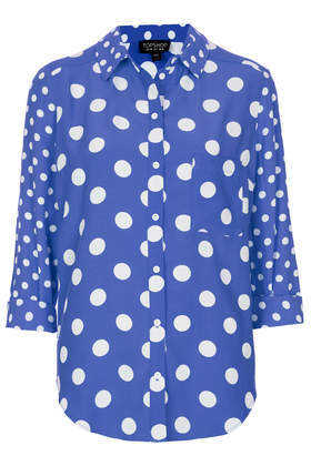 Mix Spot Shirt - neckline: shirt collar/peter pan/zip with opening; style: shirt; pattern: polka dot; secondary colour: white; predominant colour: royal blue; occasions: casual, creative work; length: standard; fibres: viscose/rayon - 100%; fit: loose; sleeve length: 3/4 length; sleeve style: standard; texture group: silky - light; pattern type: fabric; pattern size: standard; season: a/w 2013