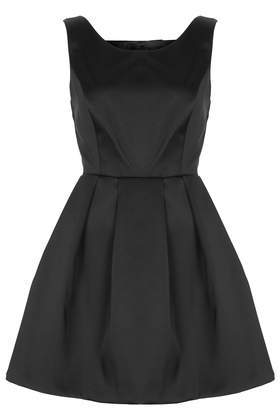 Duchess Satin Bow Back Prom Dress - length: mid thigh; neckline: round neck; pattern: plain; sleeve style: sleeveless; style: prom dress; waist detail: fitted waist; predominant colour: black; occasions: evening, occasion; fit: fitted at waist & bust; fibres: polyester/polyamide - stretch; hip detail: adds bulk at the hips; back detail: embellishment at back; sleeve length: sleeveless; texture group: structured shiny - satin/tafetta/silk etc.; pattern type: fabric; season: a/w 2013