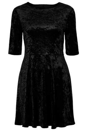 Velvet Cut Out Skater Dress - length: mid thigh; neckline: round neck; pattern: plain; predominant colour: black; occasions: casual, evening, occasion, creative work; fit: fitted at waist & bust; style: fit & flare; fibres: polyester/polyamide - 100%; hip detail: subtle/flattering hip detail; sleeve length: half sleeve; sleeve style: standard; pattern type: fabric; texture group: velvet/fabrics with pile; season: a/w 2013