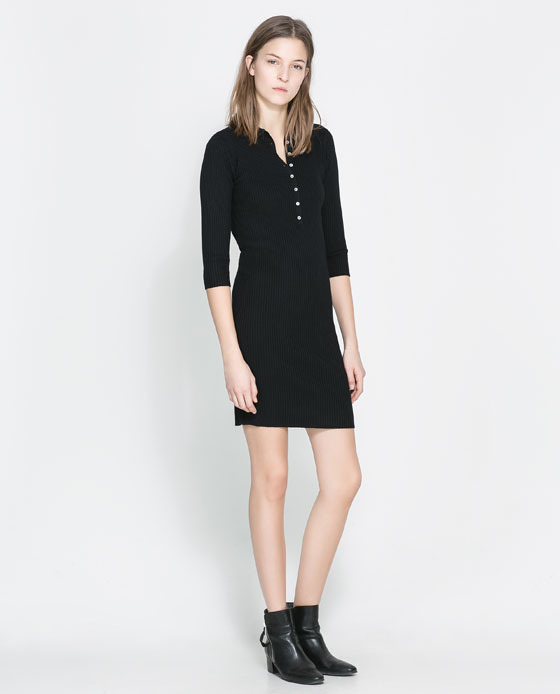 Polo Neck Dress - style: shirt; length: mid thigh; neckline: shirt collar/peter pan/zip with opening; pattern: plain; bust detail: buttons at bust (in middle at breastbone)/zip detail at bust; predominant colour: black; occasions: casual, creative work; fit: body skimming; sleeve length: 3/4 length; sleeve style: standard; texture group: jersey - clingy; pattern type: fabric; fibres: viscose/rayon - mix; season: a/w 2013