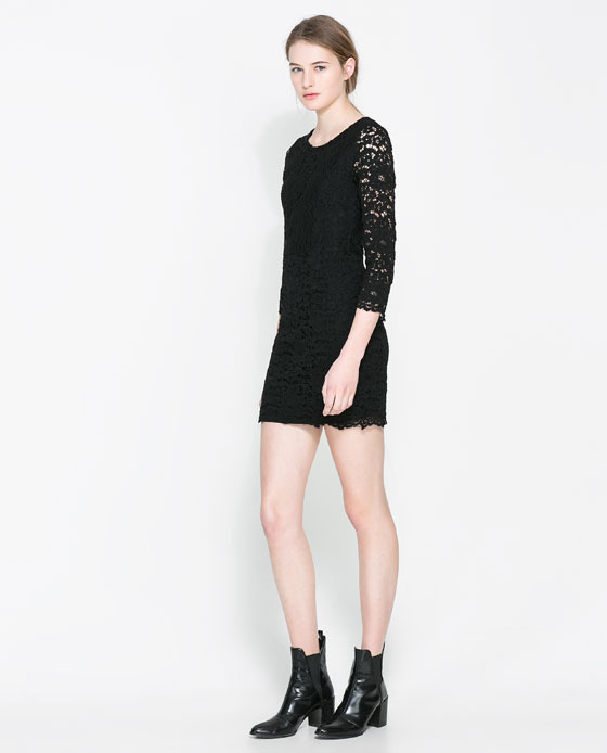 Lace Dress - length: mini; neckline: round neck; fit: tight; style: bodycon; predominant colour: black; occasions: casual, evening; fibres: polyester/polyamide - mix; sleeve length: 3/4 length; sleeve style: standard; texture group: lace; pattern type: fabric; pattern: patterned/print; trends: lace; season: a/w 2013