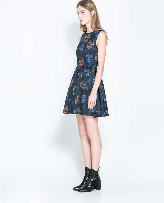 Printed Dress With Crossover Back - length: mid thigh; neckline: slash/boat neckline; sleeve style: sleeveless; predominant colour: navy; secondary colour: navy; occasions: casual, evening, occasion, creative work; fit: fitted at waist & bust; style: fit & flare; fibres: polyester/polyamide - 100%; back detail: crossover; sleeve length: sleeveless; pattern type: fabric; pattern size: standard; pattern: florals; texture group: other - light to midweight; season: a/w 2013