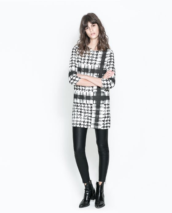 Patterned Dress - style: shift; length: mid thigh; neckline: round neck; pattern: checked/gingham; secondary colour: white; predominant colour: black; occasions: casual, creative work; fit: straight cut; fibres: cotton - 100%; sleeve length: 3/4 length; sleeve style: standard; pattern type: fabric; pattern size: big & busy; texture group: other - light to midweight; season: a/w 2013; trends: monochrome