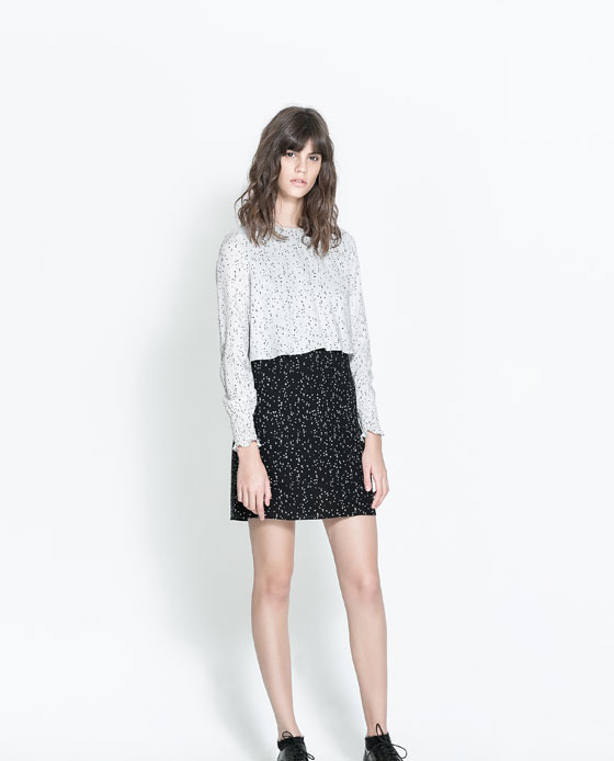 Dress With Contrasting Top - style: shift; length: mid thigh; neckline: round neck; fit: fitted at waist; secondary colour: white; predominant colour: black; occasions: casual, holiday, creative work; fibres: viscose/rayon - 100%; bust detail: contrast pattern/fabric/detail at bust; sleeve length: long sleeve; sleeve style: standard; texture group: crepes; pattern type: fabric; pattern size: standard; pattern: florals; season: a/w 2013; trends: monochrome