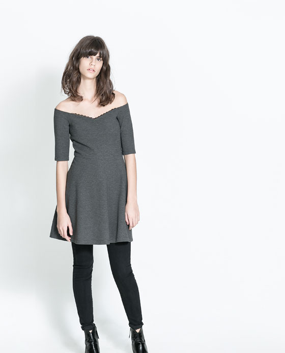 Dress With A Flared Skirt - length: mid thigh; neckline: off the shoulder; pattern: plain; predominant colour: charcoal; occasions: casual, creative work; fit: fitted at waist & bust; style: fit & flare; fibres: polyester/polyamide - mix; sleeve length: half sleeve; sleeve style: standard; pattern type: fabric; texture group: jersey - stretchy/drapey; trends: show-off shoulders; season: a/w 2013