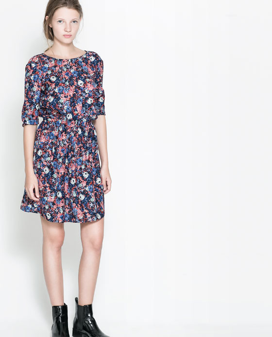 Floral Dress With Buttons At The Back - neckline: round neck; fit: fitted at waist; style: blouson; back detail: back revealing; occasions: casual, evening, occasion, creative work; length: just above the knee; fibres: polyester/polyamide - 100%; predominant colour: multicoloured; sleeve length: 3/4 length; sleeve style: standard; pattern type: fabric; pattern size: big & busy; pattern: florals; texture group: jersey - stretchy/drapey; trends: playful prints; season: a/w 2013; multicoloured: multicoloured