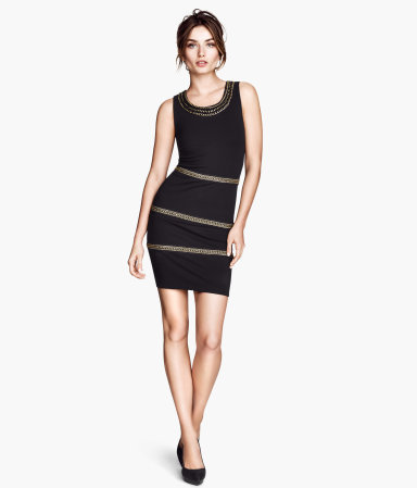 Sleeveless Dress - length: mid thigh; neckline: round neck; sleeve style: standard vest straps/shoulder straps; fit: tight; pattern: horizontal stripes; style: bodycon; secondary colour: gold; predominant colour: black; occasions: casual, evening, occasion, creative work; fibres: polyester/polyamide - mix; sleeve length: sleeveless; pattern type: fabric; pattern size: light/subtle; texture group: jersey - stretchy/drapey; embellishment: chain/metal; season: a/w 2013; wardrobe: highlight; embellishment location: hip, neck