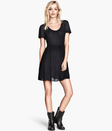 Crinkled Dress - length: mid thigh; pattern: plain; waist detail: fitted waist; predominant colour: black; occasions: casual, evening, creative work; fit: fitted at waist & bust; style: fit & flare; neckline: scoop; fibres: viscose/rayon - 100%; hip detail: soft pleats at hip/draping at hip/flared at hip; sleeve length: short sleeve; sleeve style: standard; texture group: sheer fabrics/chiffon/organza etc.; pattern type: fabric; season: a/w 2013